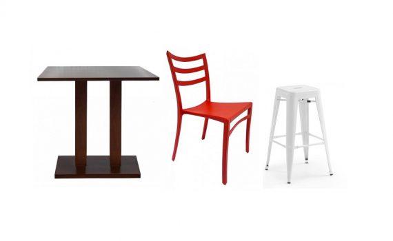 Mobiliario para hostelería en madera, plástico y aluminio.
